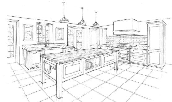 Bespoke Kitchen Design Sketch